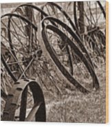 Antique Wagon Wheels II Wood Print