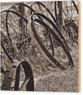 Antique Wagon Wheels II Wood Print by Tom Mc Nemar