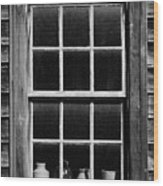 Antique Window With Pottery Wood Print