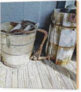 Antique Wooden Buckets Wood Print