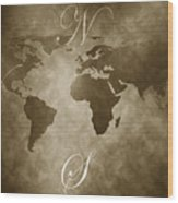 Antique World Map Wood Print