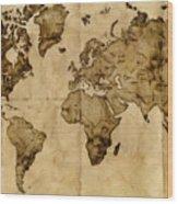 Antique World Map Wood Print