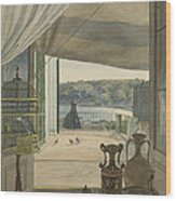 Antiquities By A Balcony Overlooking The Gulf Of Naples Wood Print