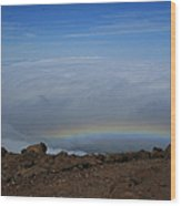 Anuenue - Rainbow At The Ahinahina Ahu Haleakala Sunrise Maui Hawaii Wood Print