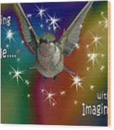 Anything Is Possible With Imagination  Rainbow Wood Print
