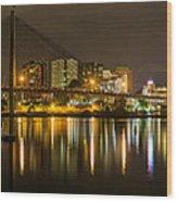 Anzac Bridge By Night Wood Print