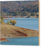 Aoos Lake Shore In Epirus, Greece Wood Print