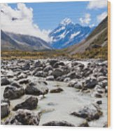 Aoraki Mount Cook Hooker Valley Southern Alps Nz Wood Print