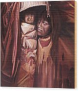 Apache Girl And Papoose Wood Print