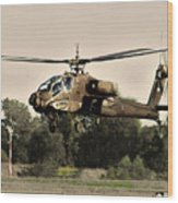 Apache Helicopter Wood Print