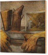 Apiary - The Beekeeper  Wood Print by Mike Savad