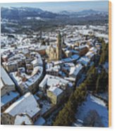 Apiro Italy In The Snow - Aerial Image. Wood Print