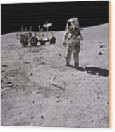 Apollo 16 Astronaut Collects Samples Wood Print