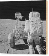 Apollo 16 Astronaut Reaches For Tools Wood Print