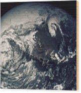 Apollo 16: Earth Wood Print