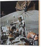Apollo 17 Astronaut Approaches Wood Print