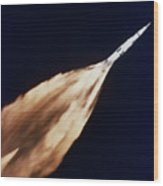 Apollo 6 Spacecraft Leaves A Fiery Wood Print