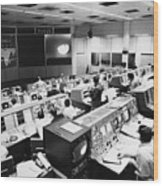 Apollo 8: Mission Control Wood Print by Granger