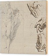 Apollo And Studies Of The Artist's Own Hand [recto] Wood Print