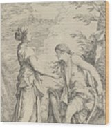 Apollo And The Cumaean Sibyl Wood Print