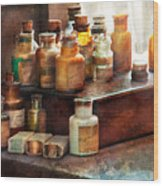 Apothecary - Chemical Ingredients  Wood Print by Mike Savad