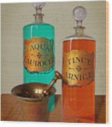 Apothecary Bottles And Brass Pestle And Mortar Wood Print