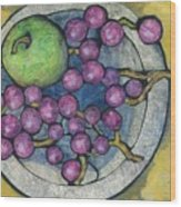 Apple And Grapes Wood Print