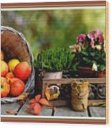 Apple Basket And Other Objects Still Life L B With Alt. Decorative Ornate Printed Frame. Wood Print