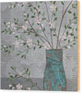 Apple Blossoms In Turquoise Vase Wood Print