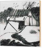 Apple Farm In Winter Wood Print
