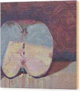 Apple Half Wood Print