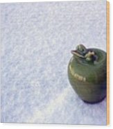 Apple On Snow Wood Print