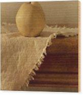 Apple Pear On A Table Wood Print by Priska Wettstein