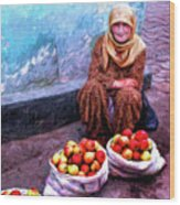 Apple Seller Wood Print