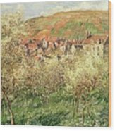 Apple Trees In Blossom Wood Print by Claude Monet