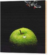 Apple Under Attack Wood Print