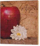 Apple With Daisy Wood Print