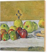 Apples And Biscuits Wood Print by Paul Cezanne