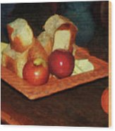 Apples And Bread Wood Print