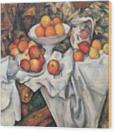 Apples And Oranges Wood Print by Paul Cezanne
