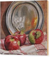 Apples And Pewter Wood Print