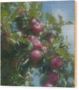 Apples And Sky Wood Print