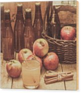 Apples Cider By Wicker Basket On Wooden Table Wood Print
