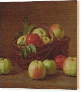 Apples In A Basket And On A Table Wood Print by Ignace Henri Jean Fantin-Latour