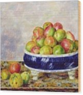 Apples In A Dish Wood Print