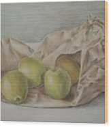 Apples In A Paper Bag Wood Print