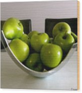 Apples In A Silver Vase Wood Print