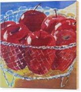 Apples In Wirebasket Wood Print