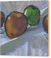Apples On Cloth Wood Print
