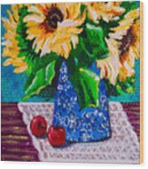 Apples  Sunflowers Wood Print